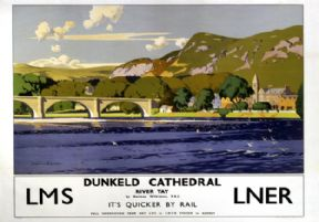 Dunkeld Cathedral - River Tay, LMS/LNER Travel Poster by Norman Wilkinson